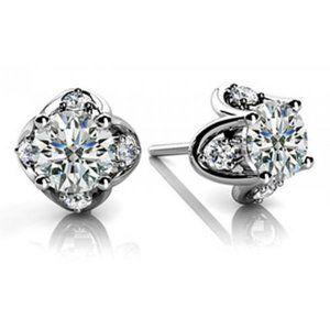 2.40 ct. Round diamond women stud earring white go